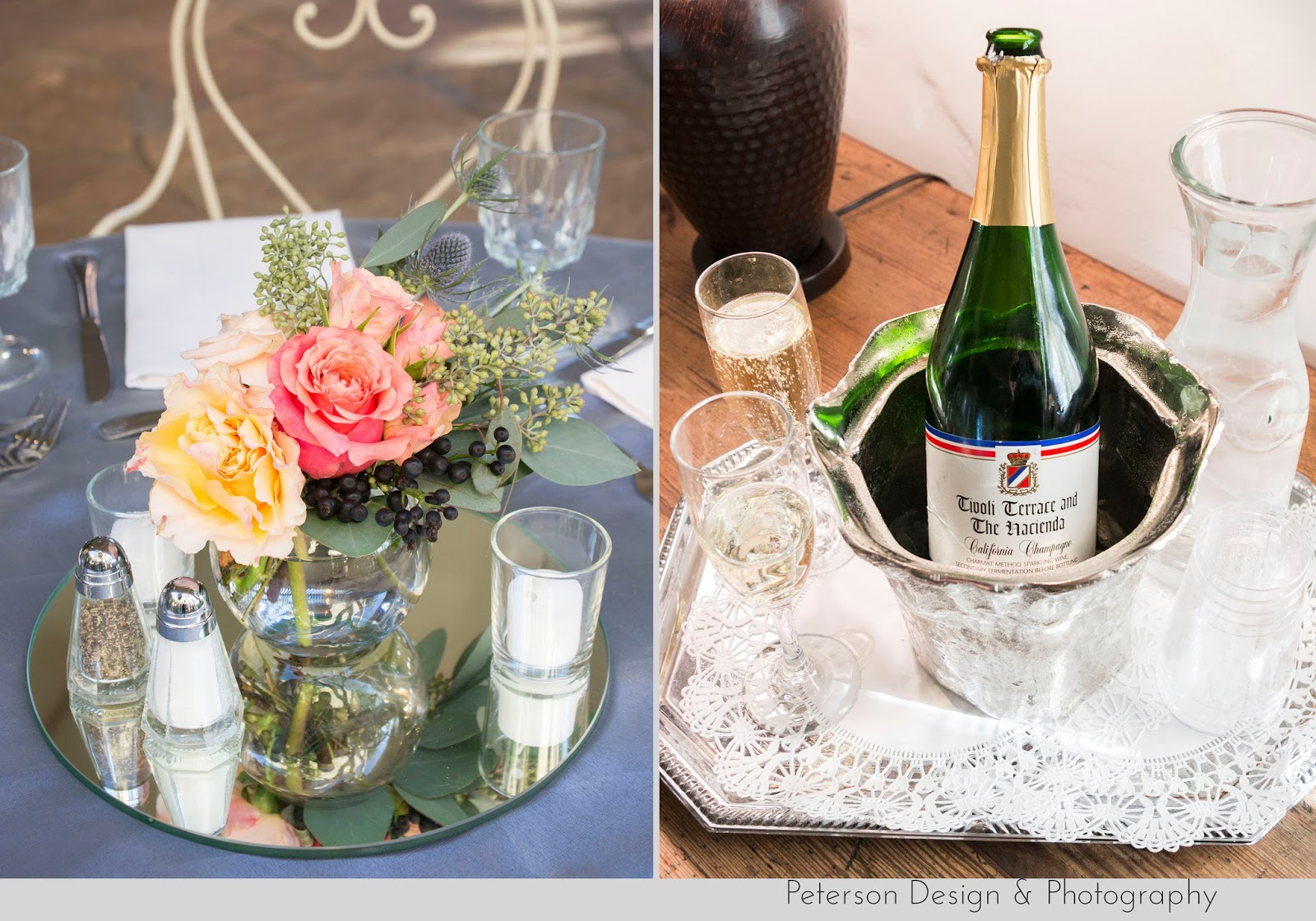 Centerpiece and Champagne at The Hacienda Weddings Santa Ana
