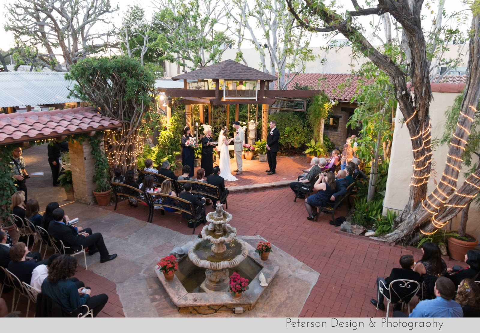 Hacienda Wedding Ceremony Fountain Courtyard Bride and Groom Married