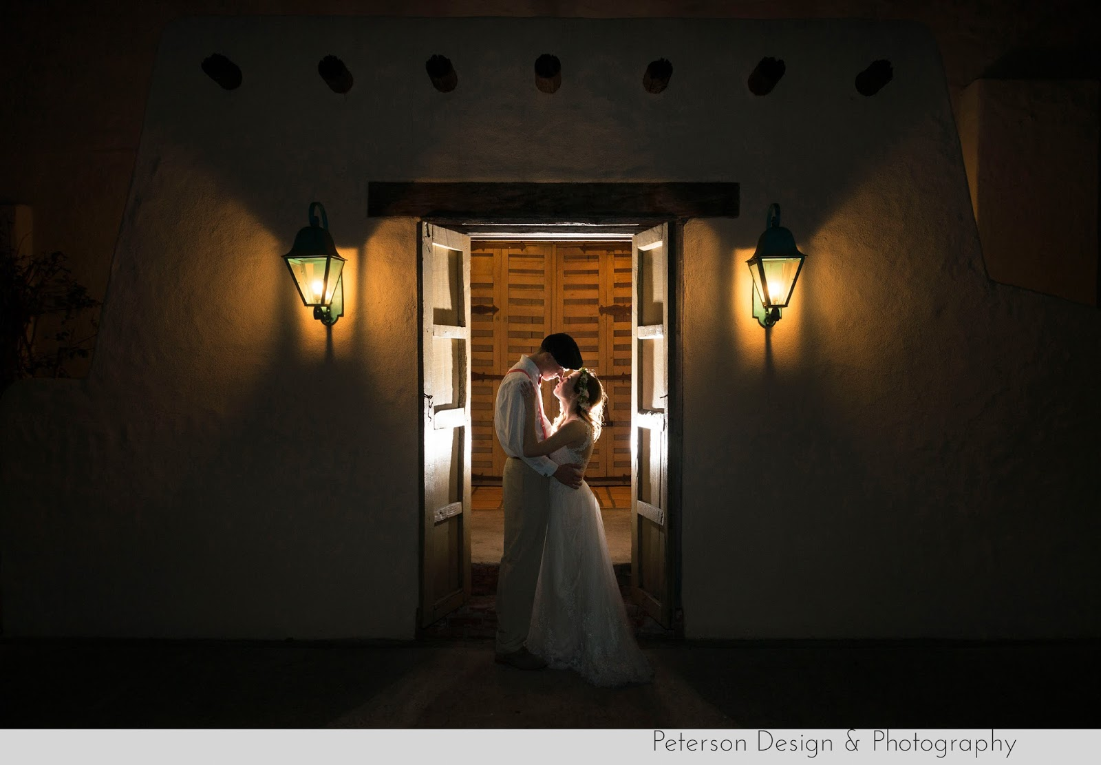 Bride and groom romantic photo hacienda santa ana
