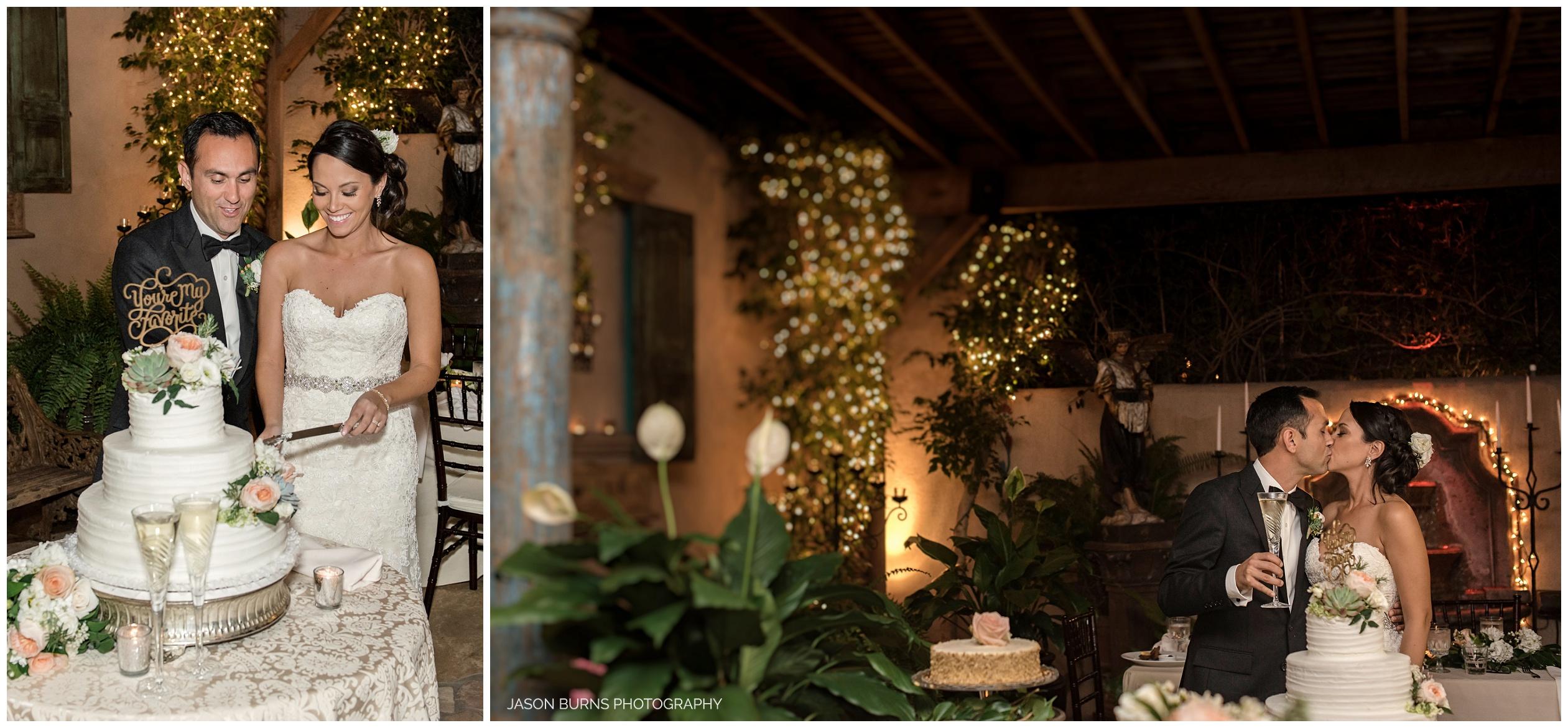 Bride and Groom cake cutting at the Hacienda Weddings Santa Ana